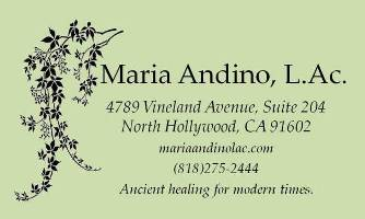 Maria Andino, L.Ac. Acupuncturist and Herbalist San Fernando Valley North Hollywood, Toluca Lake, Studio City, Burbank
